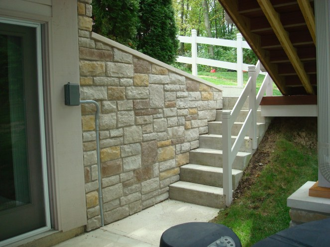 2-staircase to patio with stone retaining wall