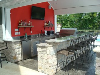 8-outdoor kitchen-pool house-snack bar-granite-stone-stamped concrete