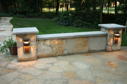 9-Swanton ohio-stone sit wall-accent lighting-lime stone caps