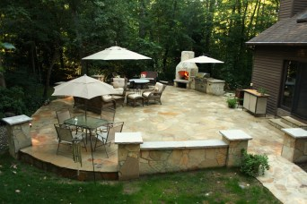 BBQ, Fireplace, Stone Patio Stone Side Walk, Stone Walls, accent lighting