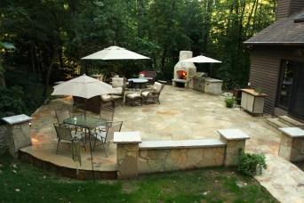 BBQ, Fireplace, Stone Patio Stone Side Walk, Stone Walls, accent lighting