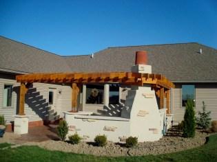 Bryan Ohio, outdoor fireplace, bbq, sit wall, bar, Pergola, Pati 003