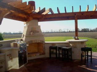 outdoor kitchen living space bbq fireplace pergola bryan, ohio