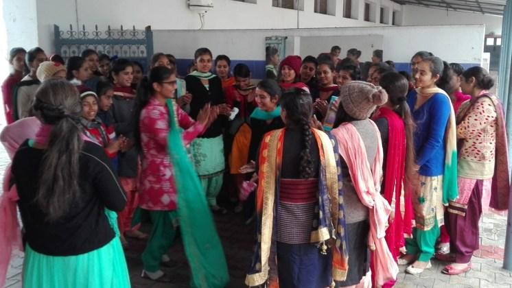 Girls singing folk songs on Lohri