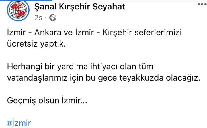 Kırşehir'de otobüs firması İzmir seferlerini ücretsiz yaptı