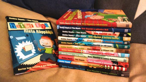 Meidän perheen 13 Risto Räppääjä -kirjaa olivat aktiivisessa lukemisessa noin viiden vuoden ajan.