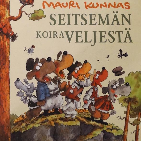 Mauri Kunnas toteaa Seitsemän koiraveljeksen alkulehdellä, että Seitsemän veljestä on Suomen paras kirja. Kuva kirjan kannesta.