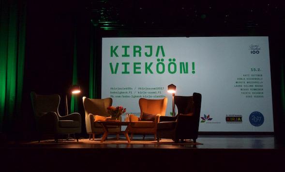Hetki ennen ensimmäisen Kirja vieköön! -illan alkamista 18.1.2017