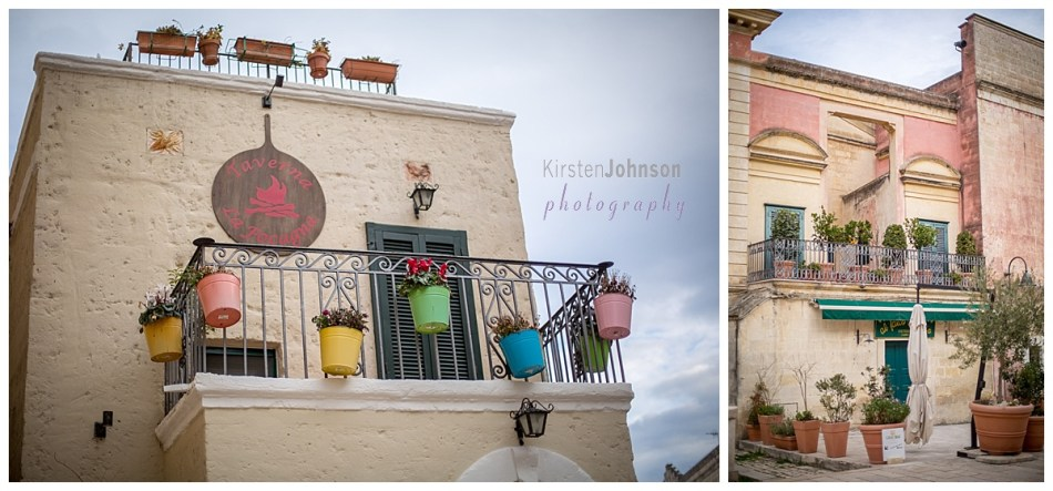 multi-coloured plant pots hanging off a balcony railing in Matera, Italy