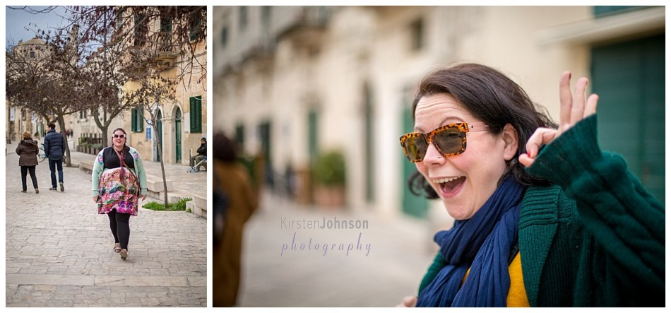 2 photos in one. One with a woman walking towards the camera with sunglasses on. The other of another woman smiling at the camera, also with sunglasses on.
