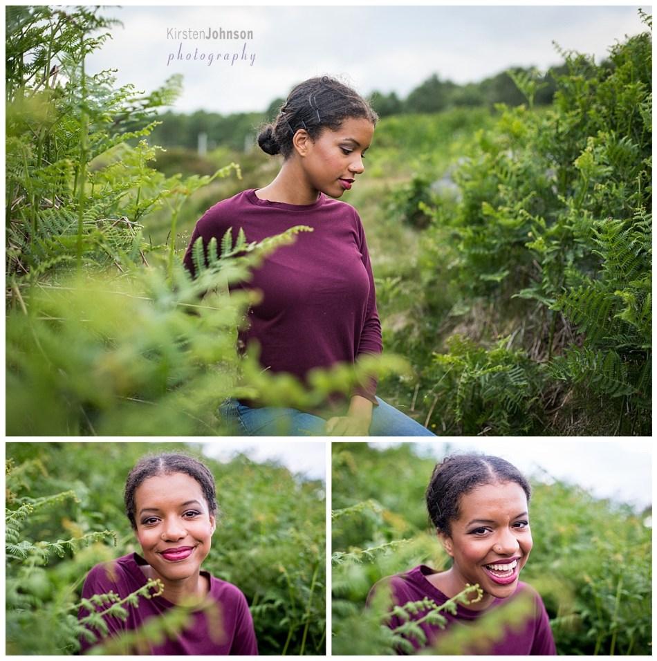 Three photos of teenage girl sitting in ferns