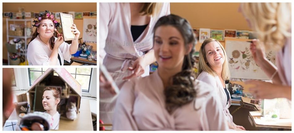 multi photo image of bridesmaids getting ready
