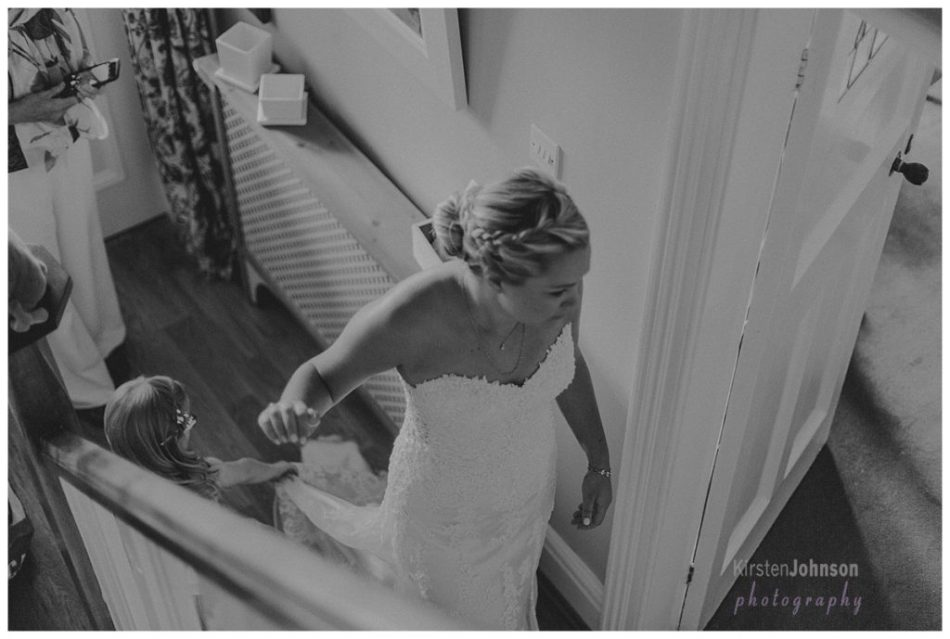 bride walking down corridor