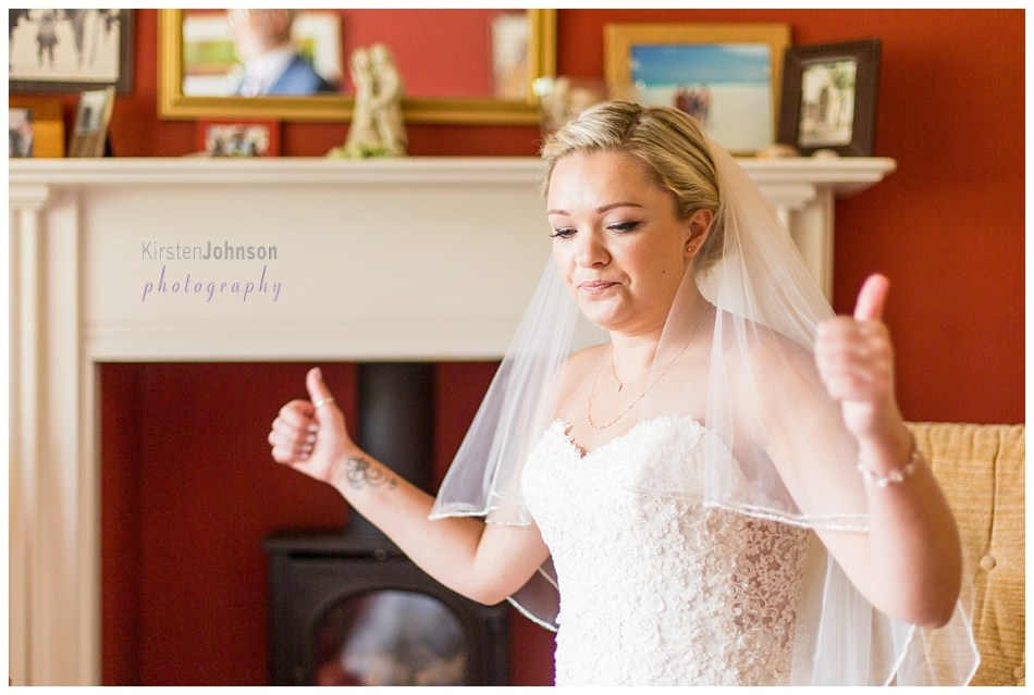 bride giving two thumbs up