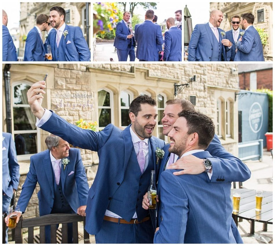 multi photo image of groomsmen at pub