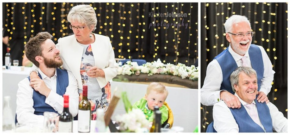 two photos of family chatting at wedding