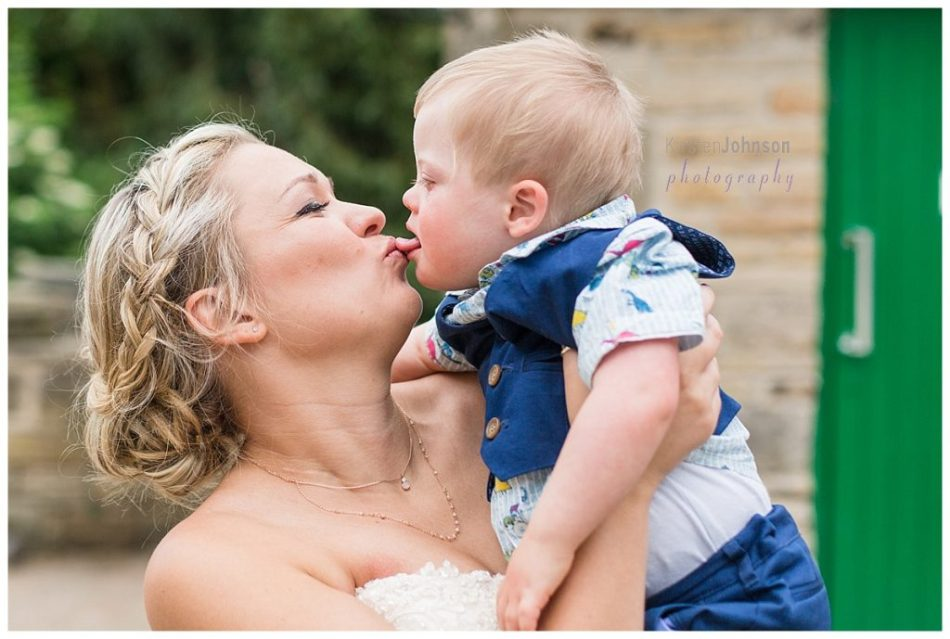 bride and boy sticking tongues out