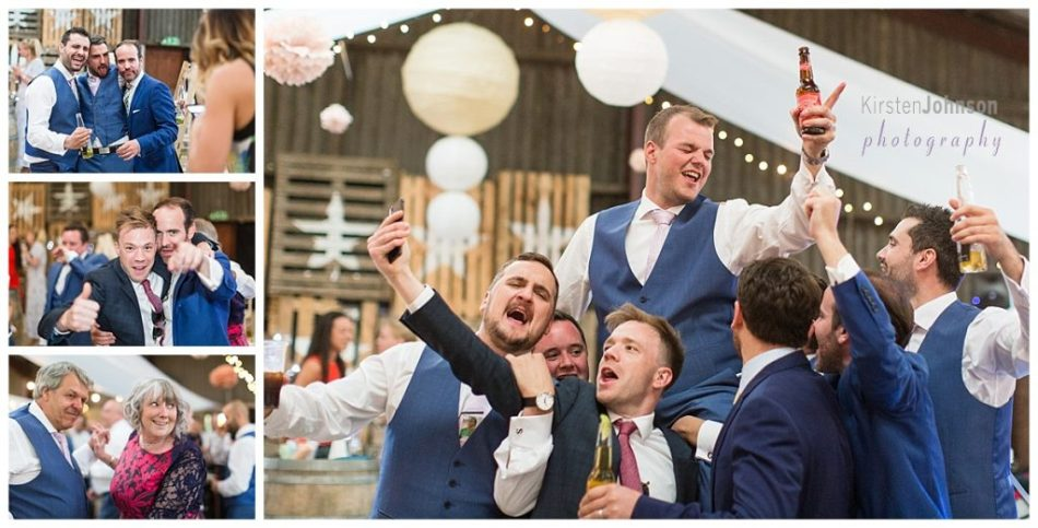 groom on friends shoulders with beer in hand