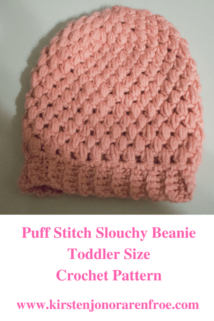 crochet, crocheting, puff stitch, puff stitch beanie, pink, toddler beanie, toddler crochet pattern