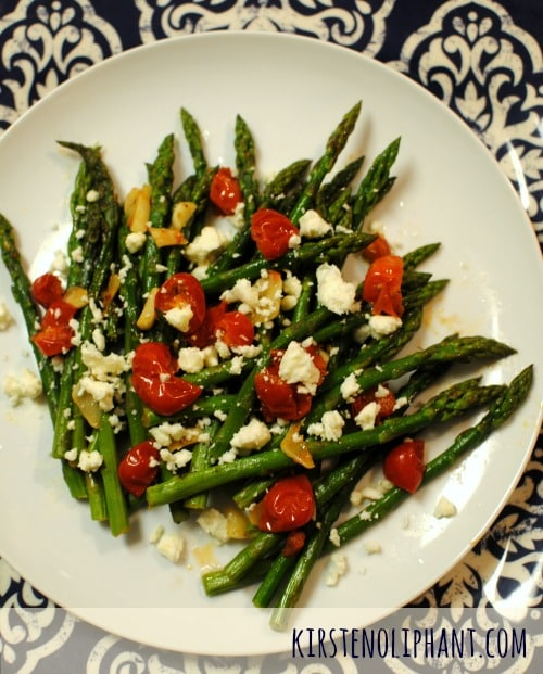 Asparagus with burst tomatoes and garlic--as tasty as it is gorgeous!