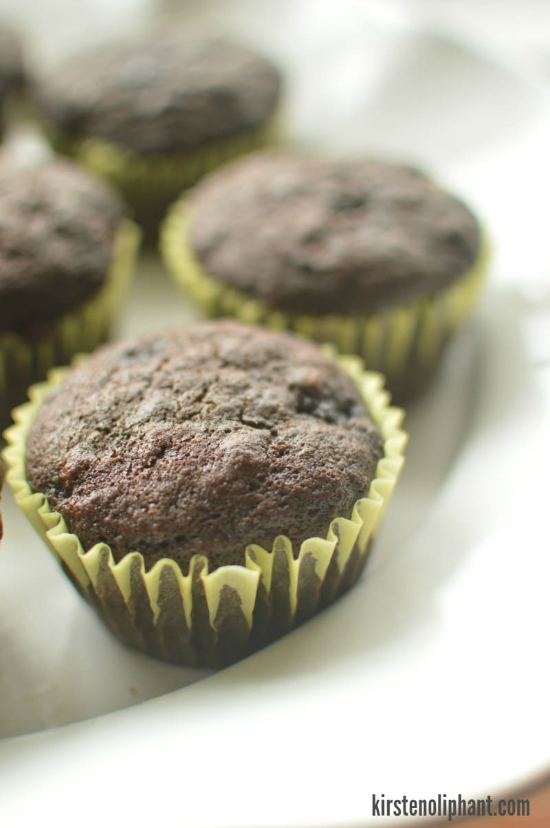 A fool-proof banana muffin recipe with rich, dark chocolate. Better double the recipe because they will be gone before they've cooled.