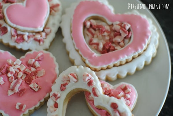 Easy Valentines Day heart cookies with a peppermint twist.