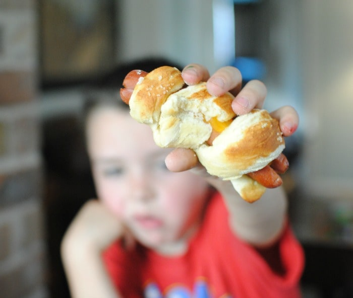Your kids will love these cheesy pretzel dogs!