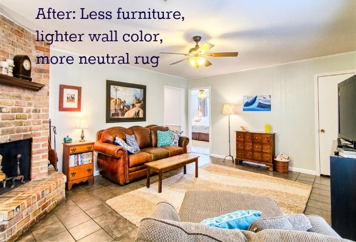 House-selling tips: A lighter wall color, less obtrusive furniture, and a more neutral rug can help your room look brighter and bigger.