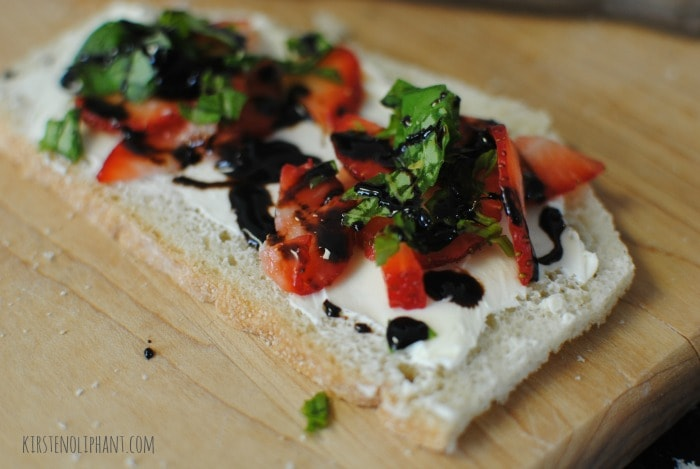 Strawberry-basil sandwich with balsamic reduction. Dainty and delicious!