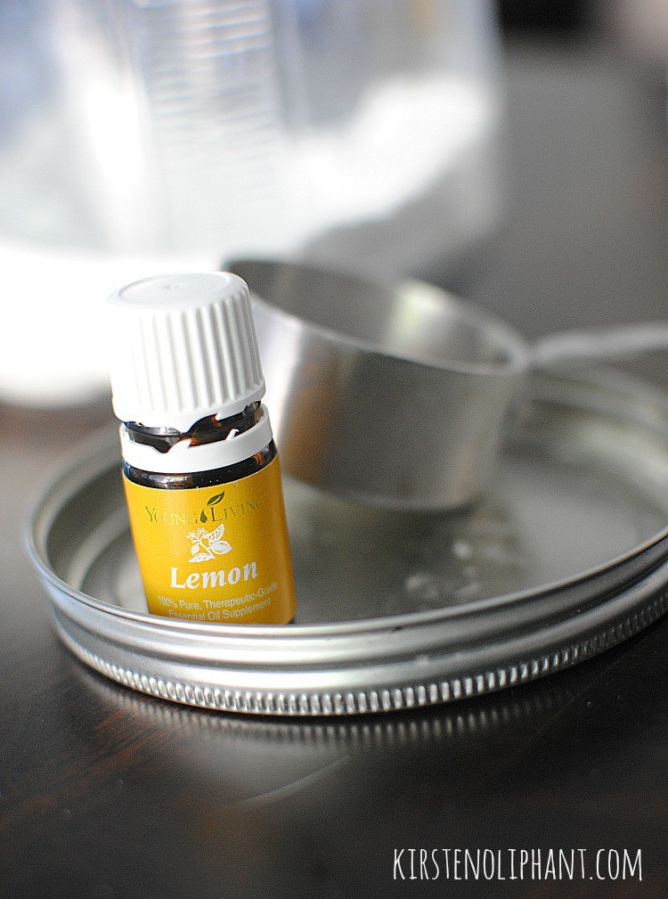 Homemade detergent with lemon essential oil.