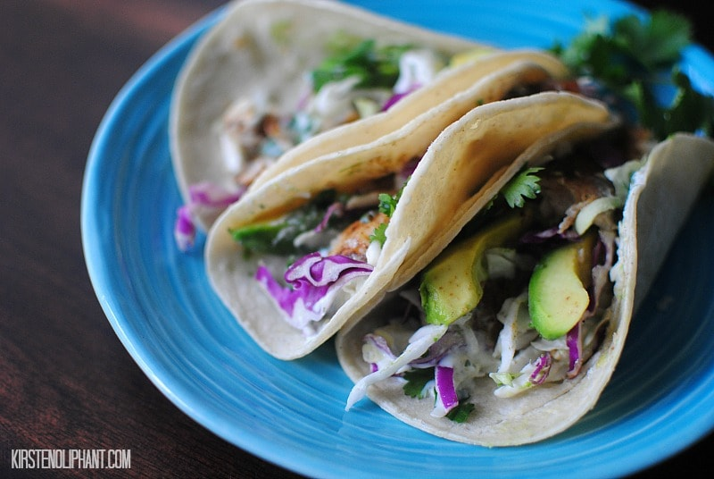 Easy fish tacos with chile sauce