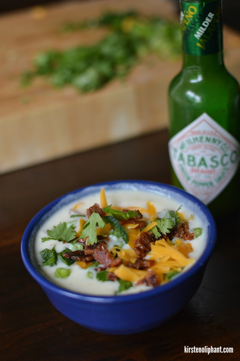 A fresh take on potato soup with spicy Tobasco Green Jalapeno sauce and smoky bacon.