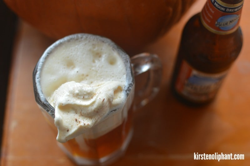 It may sound crazy, but this Pumpkin Beer Ice Cream float has the perfect combination of fall flavors.