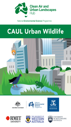 Screenshot of the CAUL Urban Wildlife App landing page, showing a flying-fox, a frog and moorhen in an urban landscape