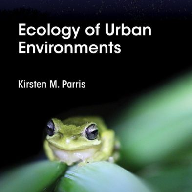 Cover art for Ecology of Urban Environments, showing a southern brown tree frog sitting on a plant