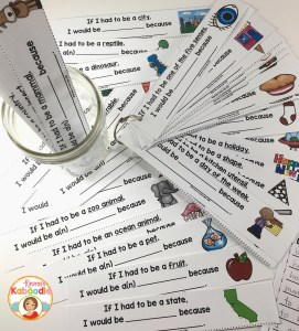 Sentence frames for brainstorming using categories. These strips can be printed on tag paper and cut into strips. Students can randomly pull a strip and complete the sentence frame as an early finisher or extension activity.