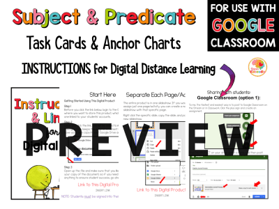 Subject and Predicate Task Cards and Anchor Charts PREVIEW