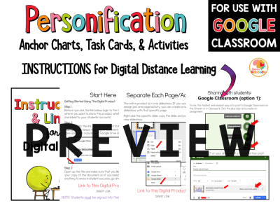 Personification Task Cards and Activities PREVIEW