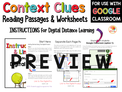 Context Clues Passages 3 to 5 PREVIEW