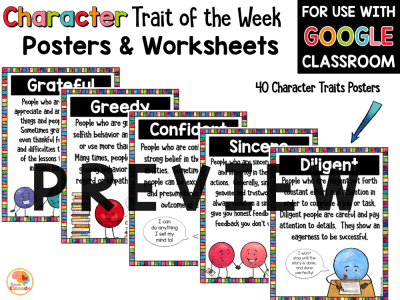 Character Traits Activities: Character Trait of the Week PREVIEW