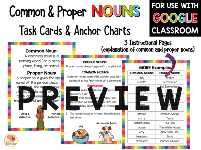Common Nouns and Proper Nouns Task Cards and Anchor Charts with Google Option PREVIEW