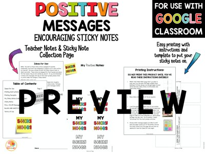 Positive Messages for Students on Sticky Notes PRIMARY PREVIEW