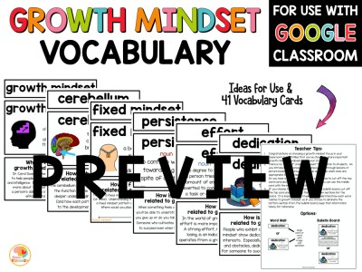 Growth Mindset Vocabulary Bulletin Board Word Wall PREVIEW