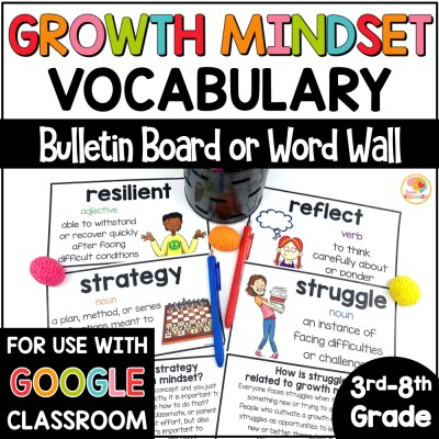 Growth Mindset Vocabulary Bulletin Board Word Wall COVER