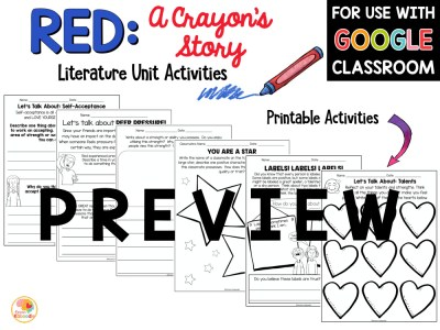 Red A Crayon's Story Activities PREVIEW