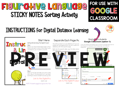 Figurative Language Sorting on Sticky Notes Activity PREVIEW