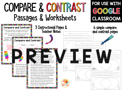 Compare and Contrast Activities and Worksheets with Digital Distance Learning Option