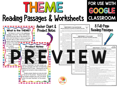 Theme Reading Passages Printable and Digital Option