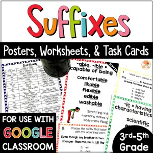 Suffixes Posters, Task Cards, and Worksheets COVER