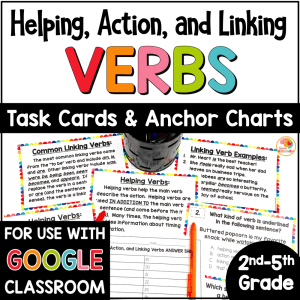 Helping Action and Linking Verbs Task Cards COVER